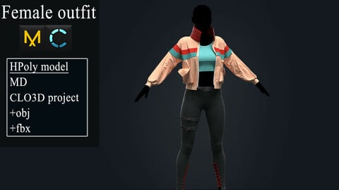 Female Outfit. Marvelous Designer, Clo3d project +OBJ +FBX