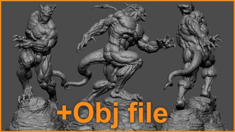 Sculpting Demon Of The Earth Real time video + Obj