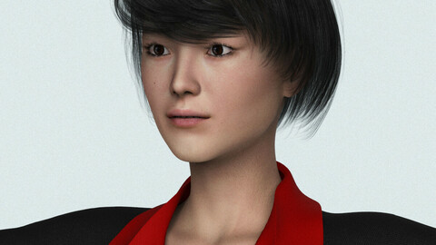 Realistic Asian Business Woman 3D Model