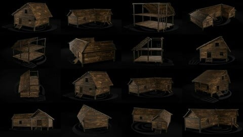 AAA Wooden Enterable Medieval Primal Hut Collection 01 R