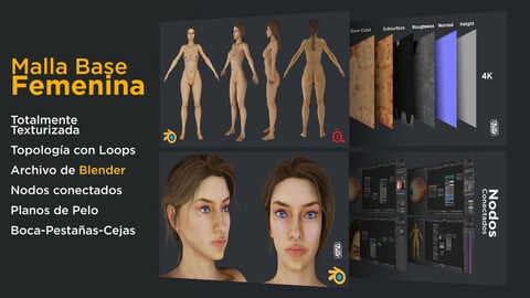 Female Base Mesh - Textured - Flat hair - Nodes / eevee and Cycles / Woman / 3D / Girl
