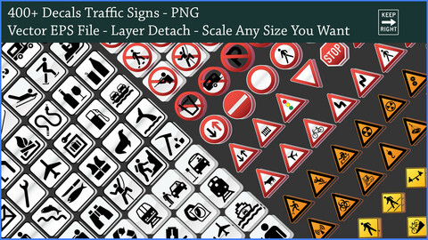 400+ Traffic Signs PNG DeCal - Scale Any Size You Want With Vector File