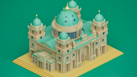Cathedral from Berlin Germany 3D Lowpoly