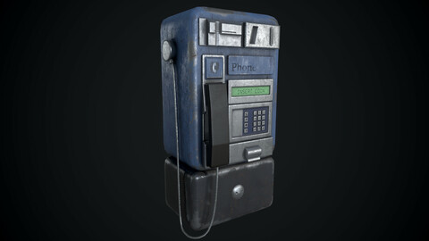 Payphone Dirty Low-poly 3D model
