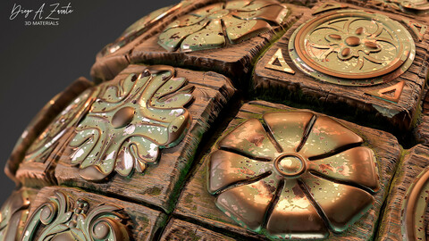 PBR Wood blocks for floor or wall column metal inlays medieval style 4K Material