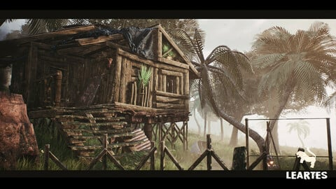 Abandoned Hut in Tropical Island (Survival / Post Apocalyptic )