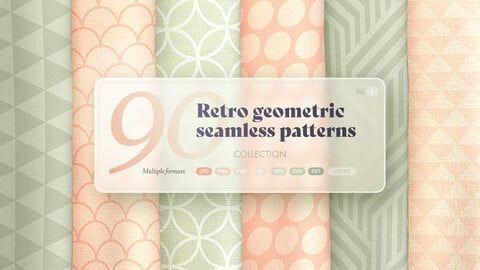 Retro geometric seamless patterns collection