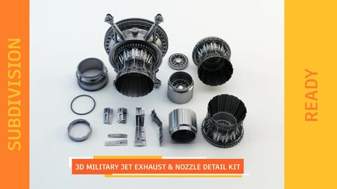 3d Military Jet Exhaust & Nozzle Detail kit - SUBDIVISION READY