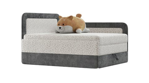Children's bed sofa and shiba toy 3d model