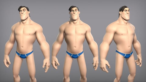 Cartoon male character Curtis base mesh