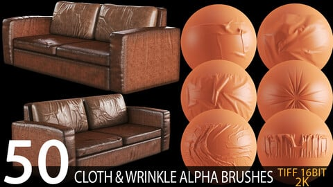 50 cloth and wrinkle alpha brush bundle (sofa and furniture) 2K tiff 16bit