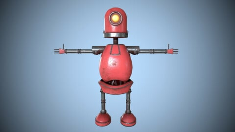Little Red Robot Character Worn Low-poly 3D model