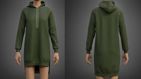 Hood Sweater Dress 3D Model
