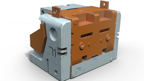 Sci-fi heavy metallic container - game-ready asset