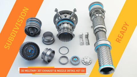 3d Military Jet Exhaust & Nozzle Detail kit III - SUBDIVISION READY