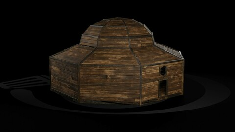 AAA Wooden Enterable Medieval Primal Thatched Cottage Hut 09 R