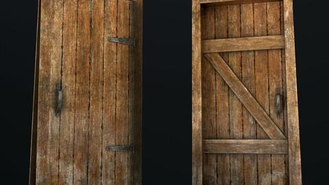 Old Wooden Door Low-poly 3D model
