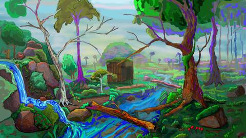 Digital Painting / Digital Art ( Forest landscape )