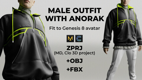 Male outfit with anorak