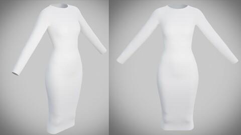 White bodycon midi dress - 3D model