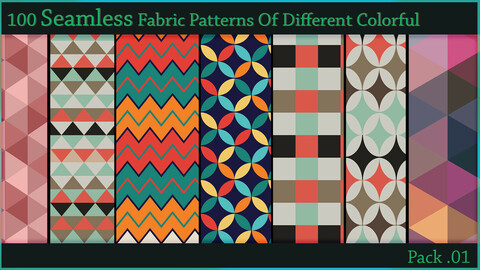 100 Seamless Fabric Patterns Of Different Colorful  - Pack . 01