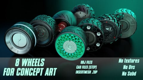 8 Wheels for concepr art