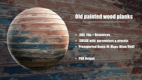 Old painted wood planks - Photogrammetry based Material
