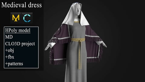 Medieval dress. Marvelous Designer / Clo3d project +OBJ +FBX.