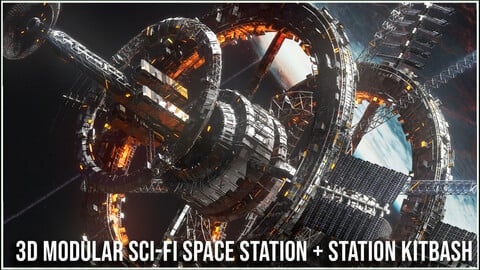 Modular Sci Fi Space Station & Space Station Kitbash