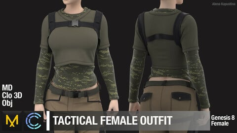 Tactical female outfit / Marvelous Designer / Clo 3D project + obj