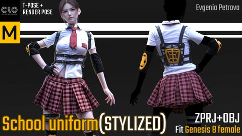 School uniform. Clo3d, MD projects. T-pose+render file(Clo3d) +OBJ