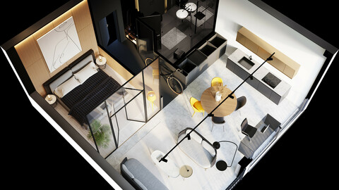 3D plan of cozy modern interior from top and perspective angles 3D model