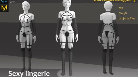 Woman's Sexy Outfit_Underwear_Clo3d, Marvelous designer_Practice for Zbrush