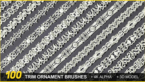 100 Seamless Trim ornament Brushes +Alphas +3D Models