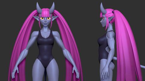 Stylized Female Oni - Base Mesh