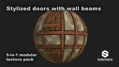 5-in-1 Modular texture pack - Stylized doors with wall beams
