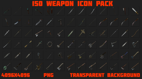 150 weapon icon pack