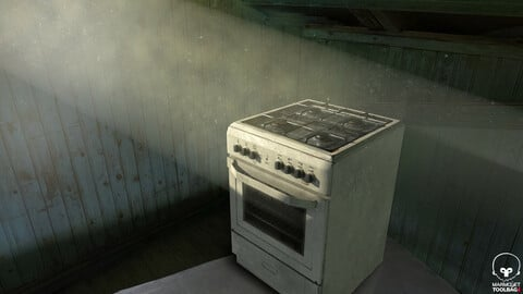 3D PBR stove with 3 different texture variants