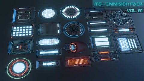 20 Sci-fi Emission Decal Pack, with BOUNCE light. Decal Machine 2.1 Ready + all baked maps!