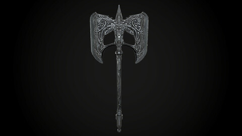 Battle Axe Steel Nord Viking PBR Low-poly 3D model
