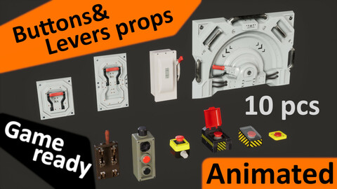 Buttons and levers pack (10 pcs, animated)