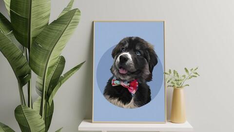 Printable digital pet portrait