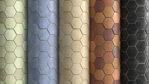 Materials 10- Hexagon Tiles In 5 Color