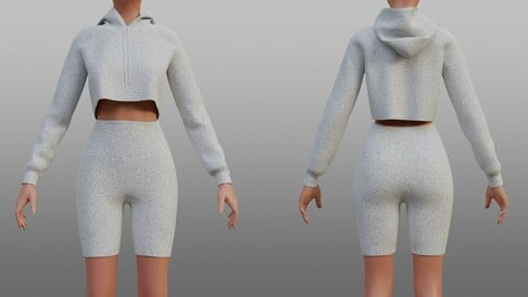 3D Biker shorts and cropped hoodie set - 2 piece outfit