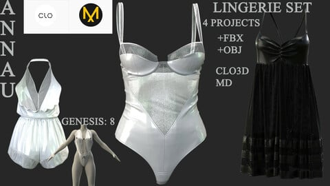 GENESIS 8 FEMALE LINGERIE SET: CLO3D, MARVELOUS DESIGNER 4 PROJECTS| +OBJ +FBX
