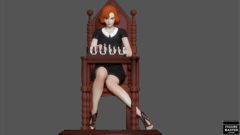 QUEENS GAMBIT ANYA TAYLOR JOY CHESS GIRL CHARACTER STATUE 3D PRINT