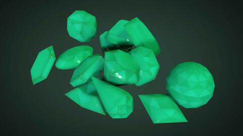 Gemstone crystals set