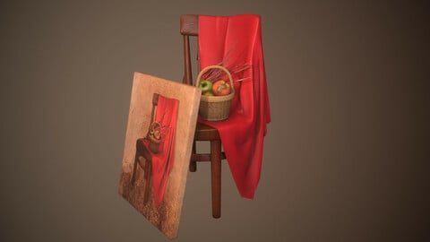 Art Composition Painting Chair Fabric