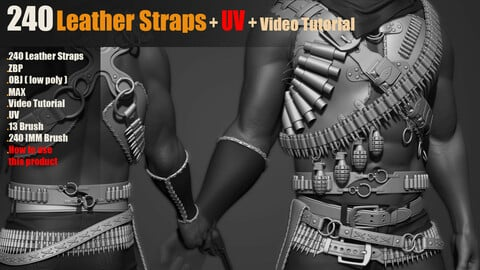 240 IMM Brush Leather Straps_Vol 03 + UV + Video Tutorial