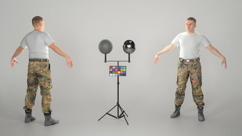 Bundeswehr soldier in white t-shirt ready for animation 255